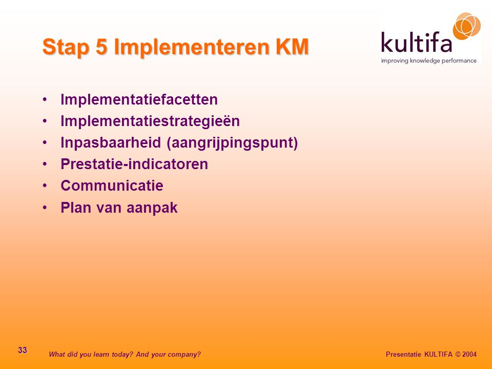 Stap 5 Implementeren KM Implementatiefacetten Implementatiestrategieën