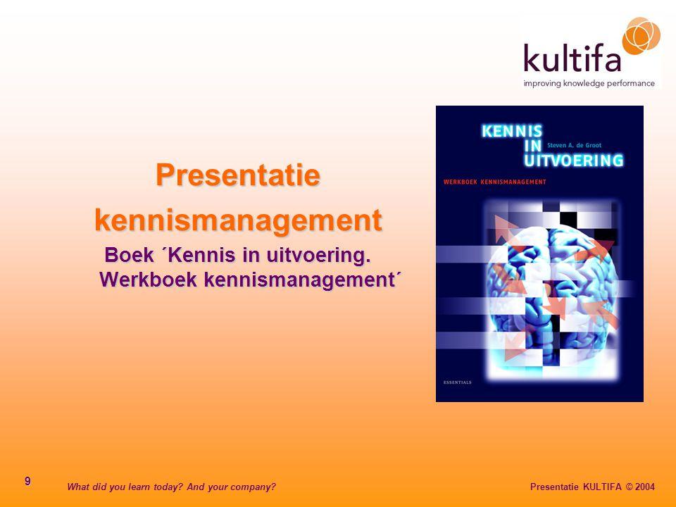 Boek ´Kennis in uitvoering. Werkboek kennismanagement´