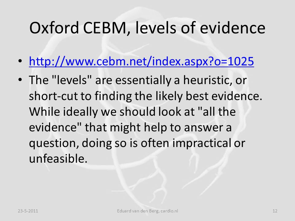 Oxford CEBM, levels of evidence