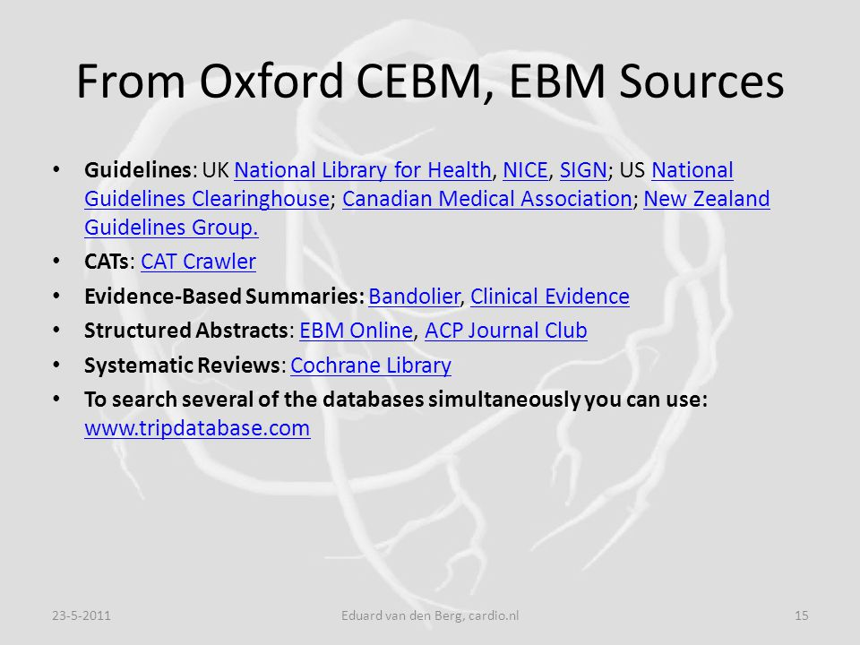 From Oxford CEBM, EBM Sources