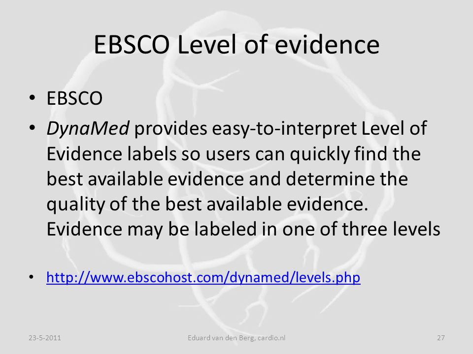 EBSCO Level of evidence