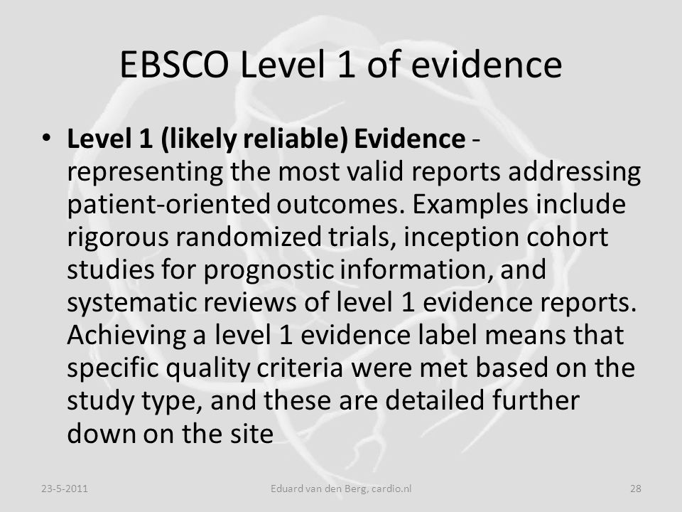 EBSCO Level 1 of evidence