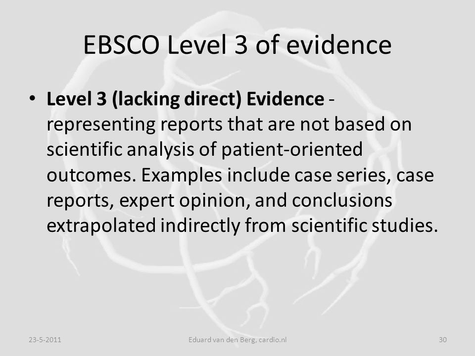 EBSCO Level 3 of evidence
