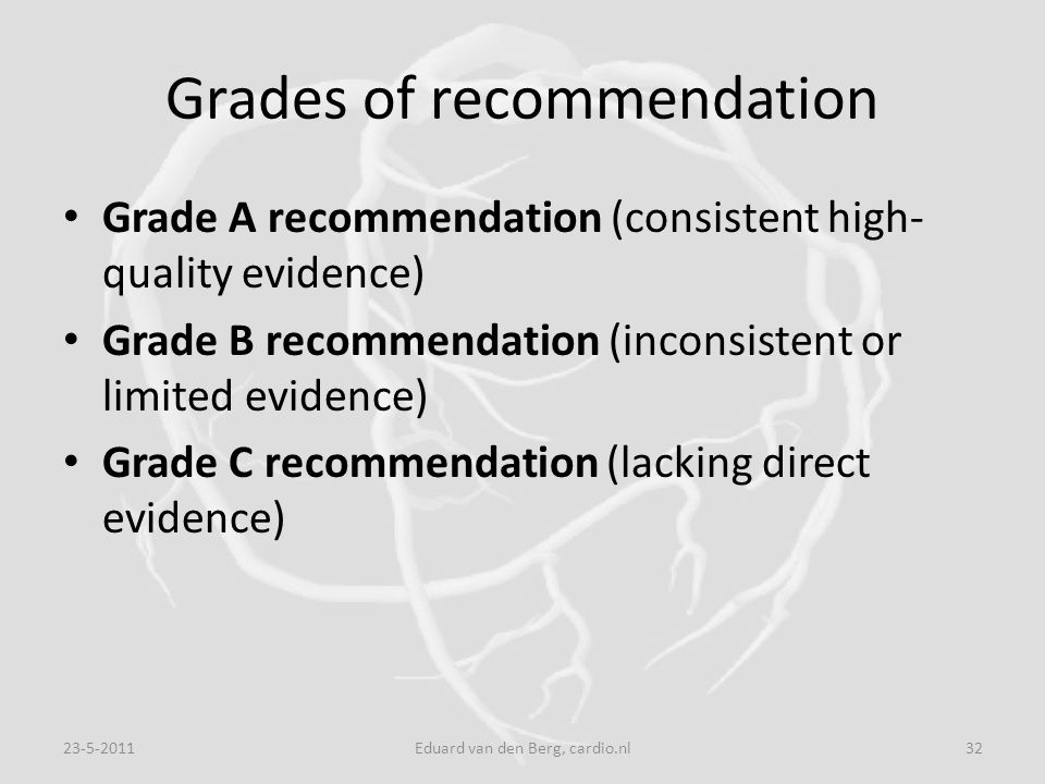 Grades of recommendation