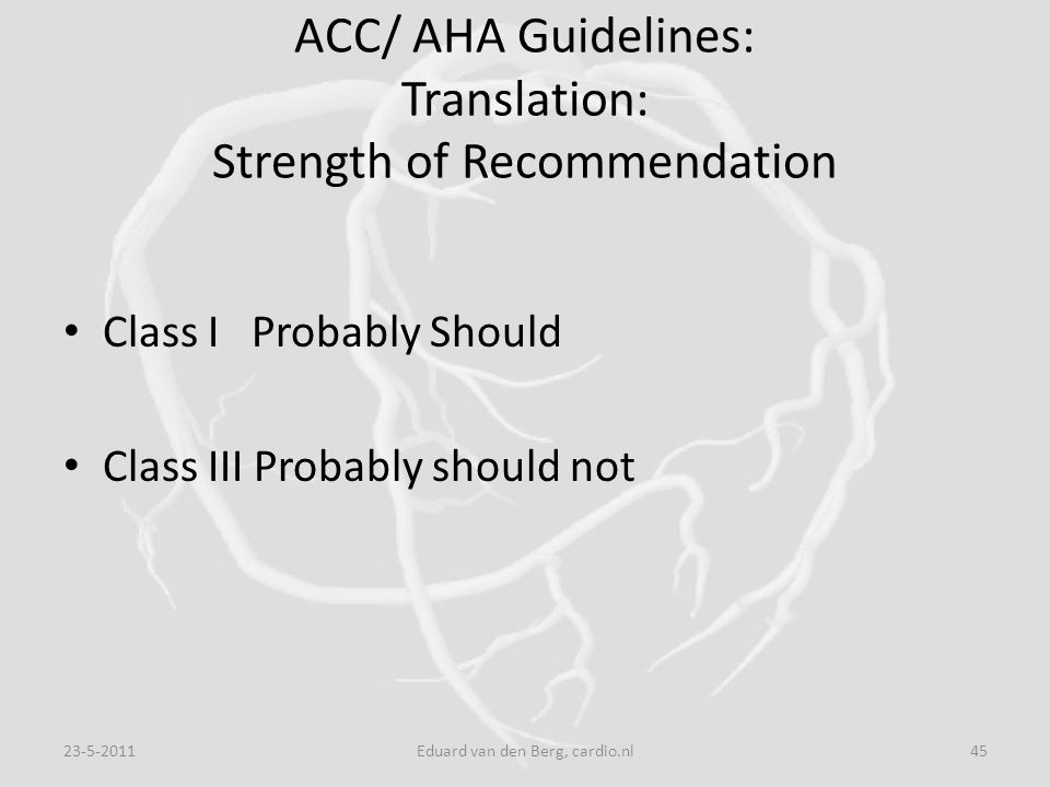 ACC/ AHA Guidelines: Translation: Strength of Recommendation