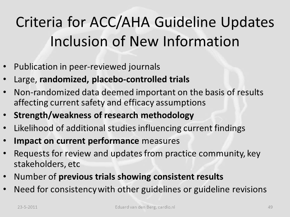 Criteria for ACC/AHA Guideline Updates Inclusion of New Information
