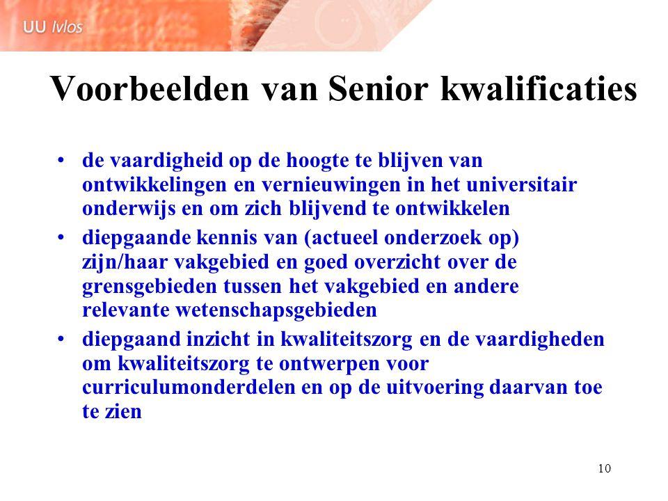 Voorbeelden van Senior kwalificaties
