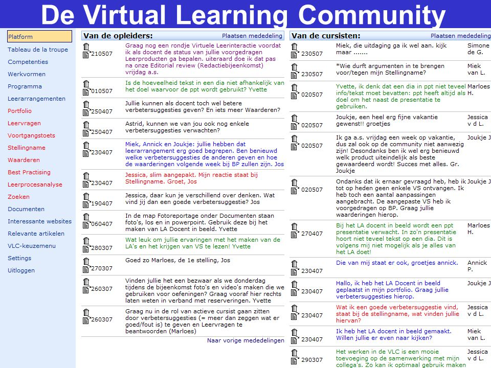 De Virtual Learning Community