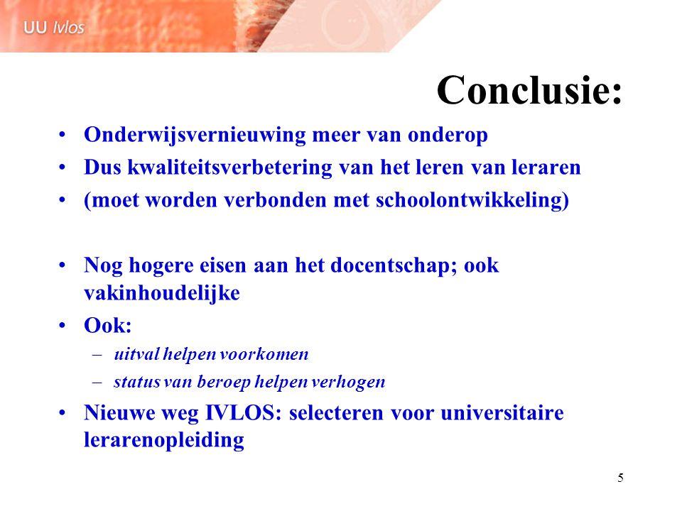 Conclusie: Onderwijsvernieuwing meer van onderop