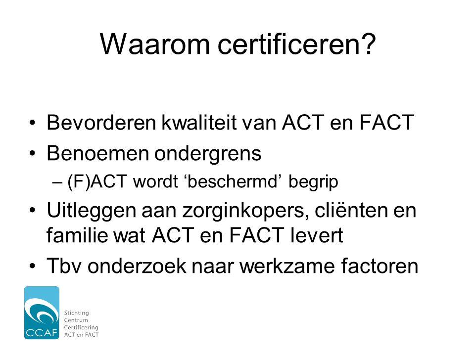 Waarom certificeren Bevorderen kwaliteit van ACT en FACT