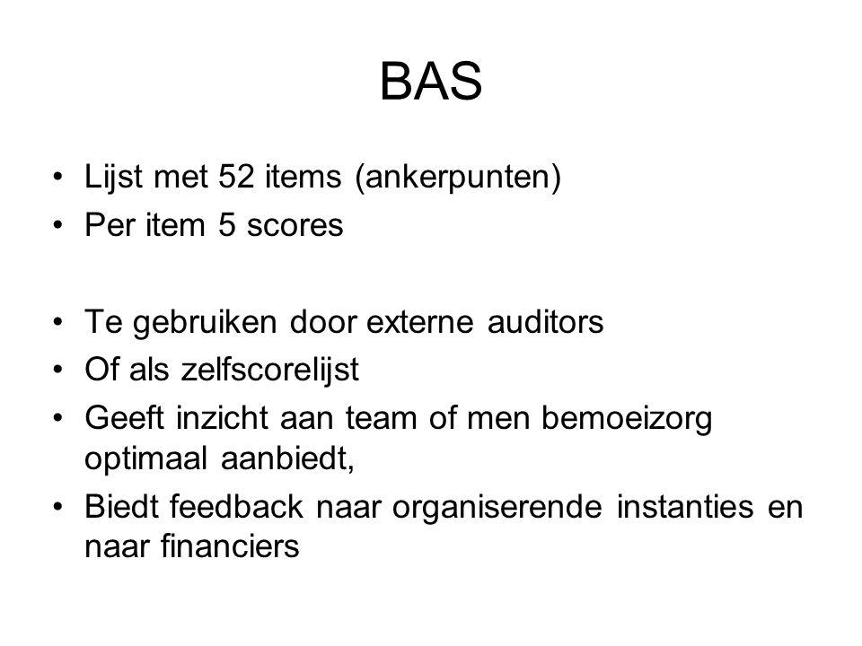 BAS Lijst met 52 items (ankerpunten) Per item 5 scores
