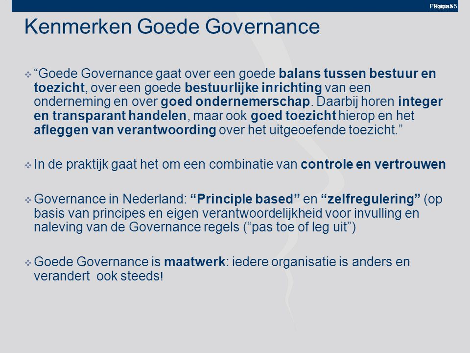 Kenmerken Goede Governance