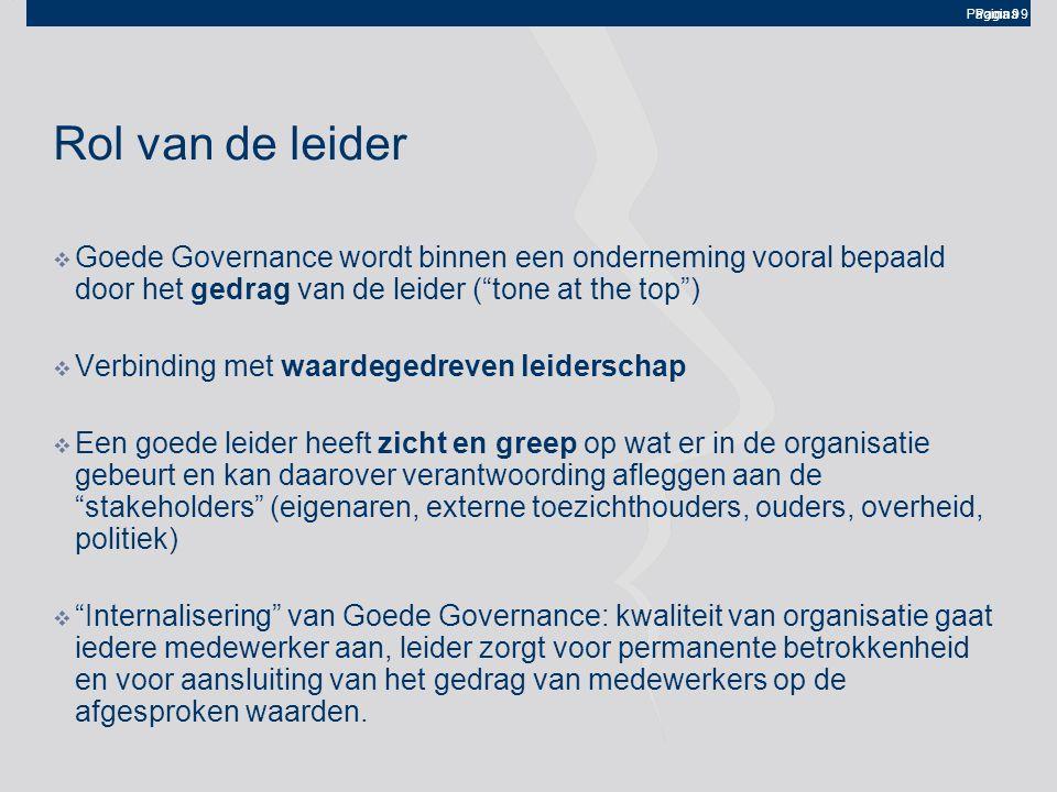 Rol van de leider Goede Governance wordt binnen een onderneming vooral bepaald door het gedrag van de leider ( tone at the top )