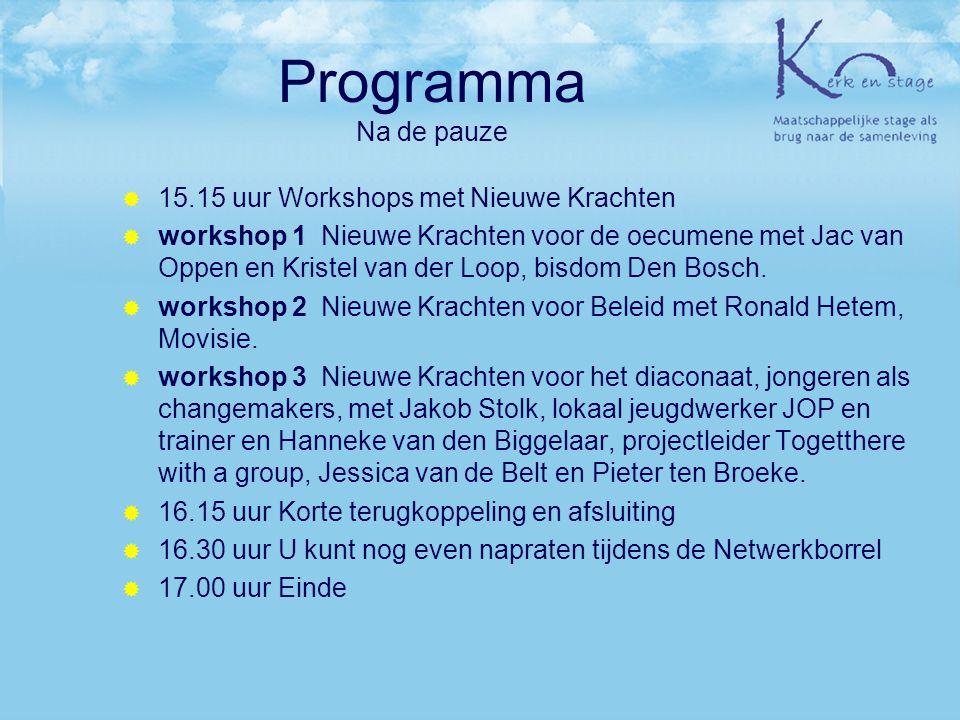 Programma Na de pauze 15.15 uur Workshops met Nieuwe Krachten