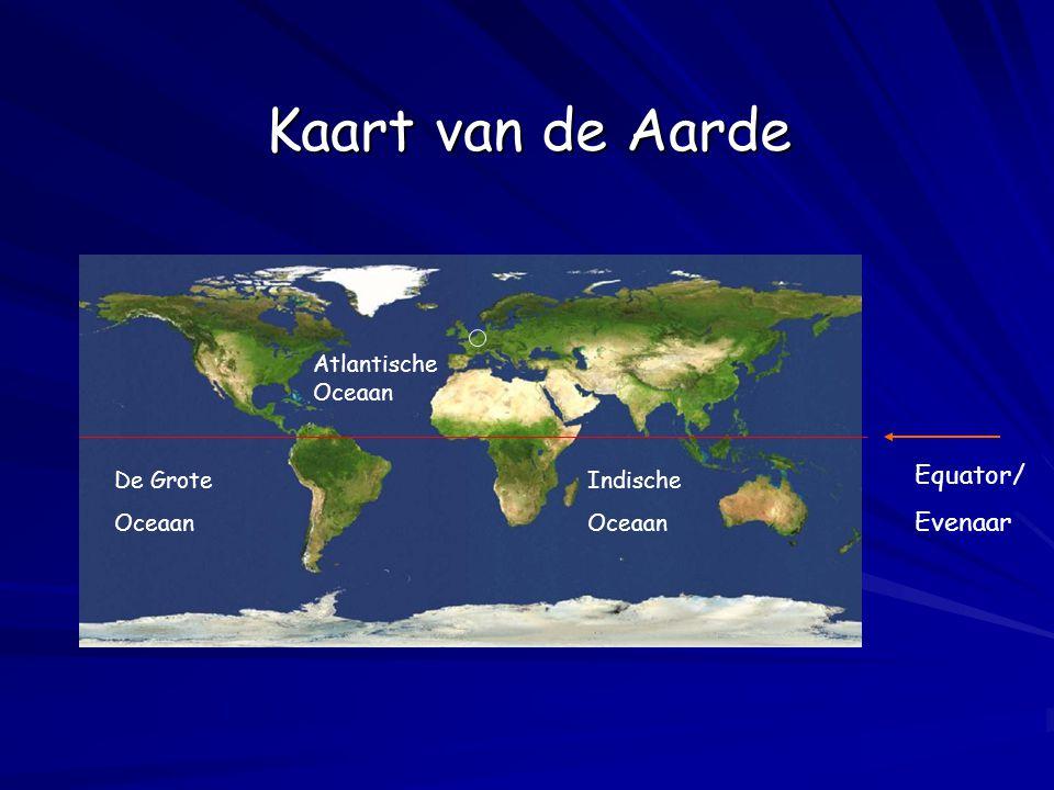Kaart van de Aarde Equator/ Evenaar Atlantische Oceaan De Grote Oceaan