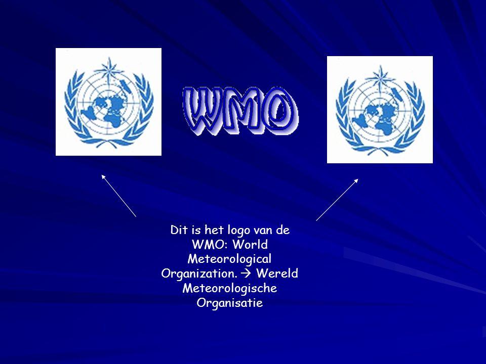Dit is het logo van de WMO: World Meteorological Organization