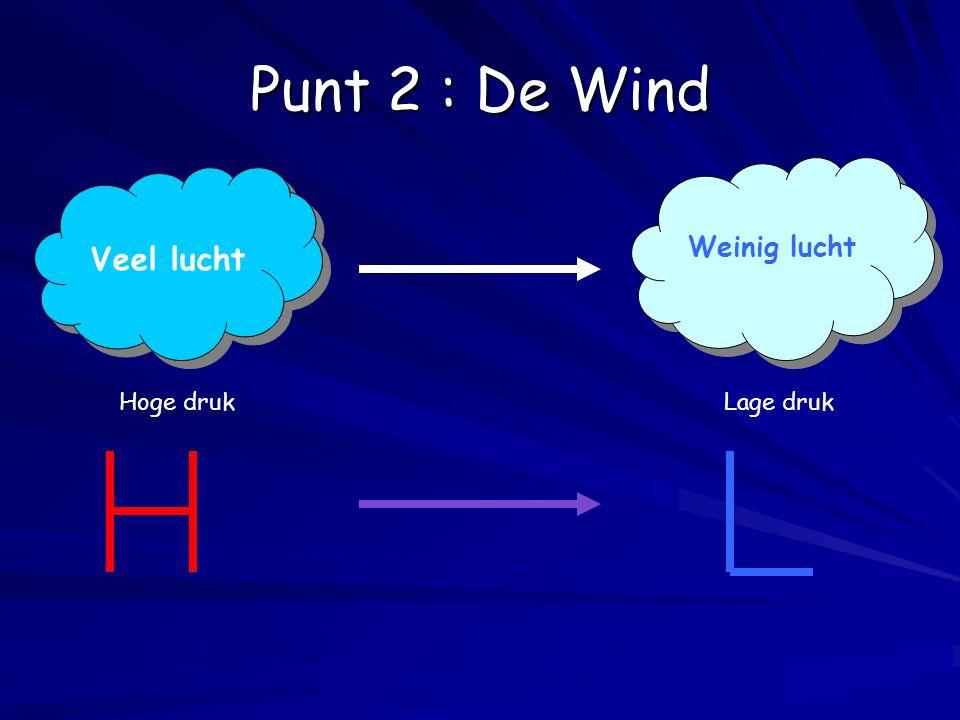 Punt 2 : De Wind Weinig lucht Veel lucht Hoge druk Lage druk