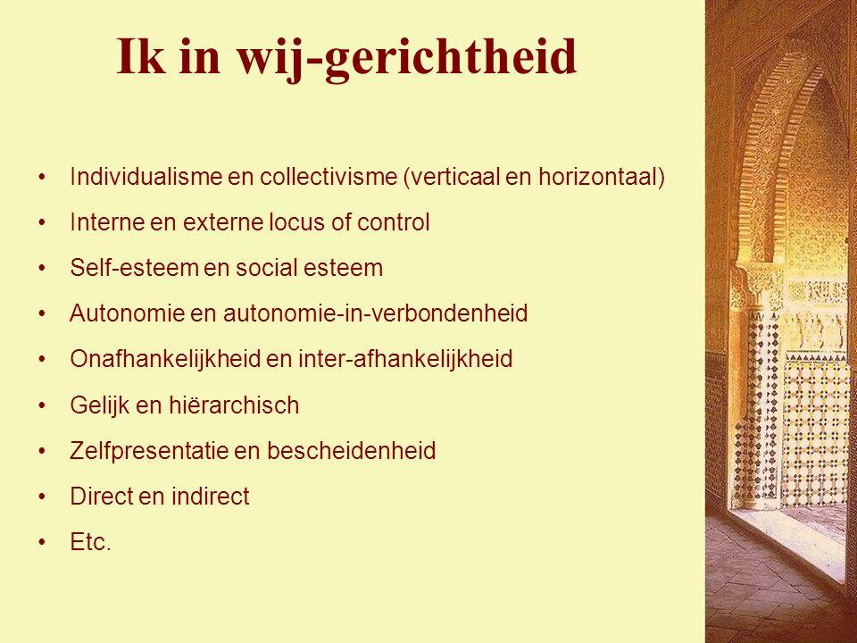 Ik in wij-gerichtheid Individualisme en collectivisme (verticaal en horizontaal) Interne en externe locus of control.