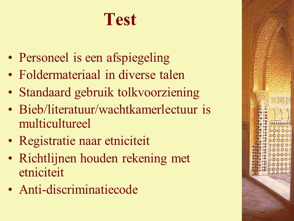 Test Personeel is een afspiegeling Foldermateriaal in diverse talen