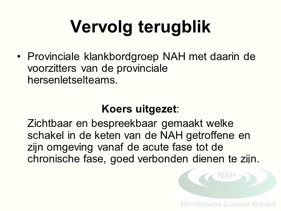Vervolg terugblik Provinciale klankbordgroep NAH met daarin de voorzitters van de provinciale hersenletselteams.