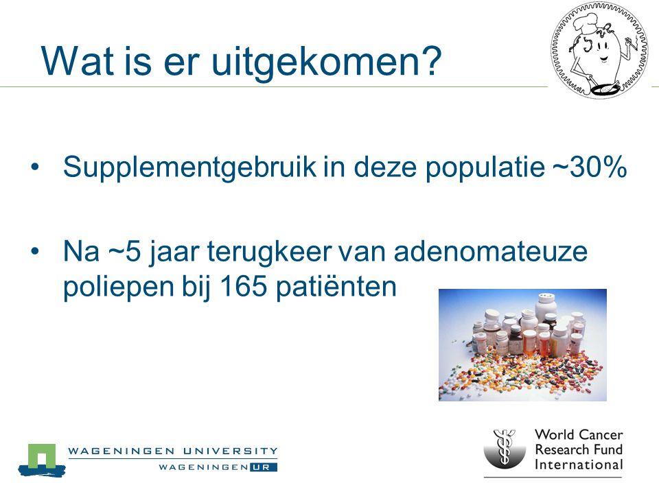 Wat is er uitgekomen Supplementgebruik in deze populatie ~30%