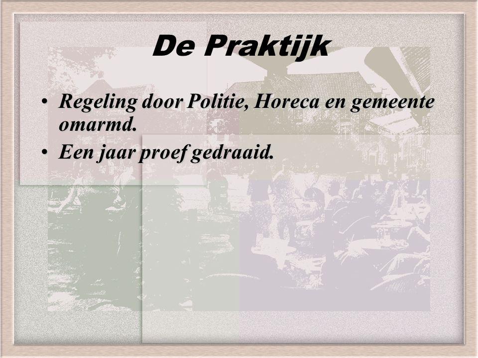 De Praktijk Regeling door Politie, Horeca en gemeente omarmd.