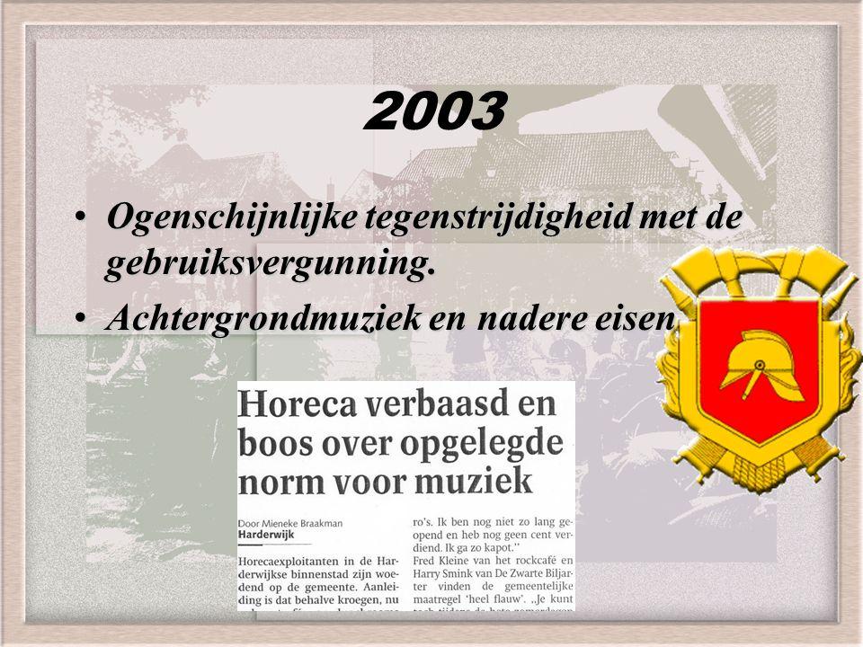 2003 Ogenschijnlijke tegenstrijdigheid met de gebruiksvergunning.