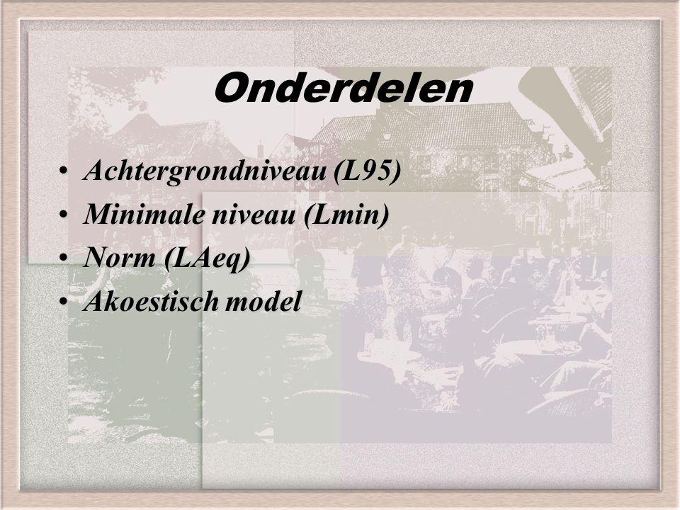 Onderdelen Achtergrondniveau (L95) Minimale niveau (Lmin) Norm (LAeq)