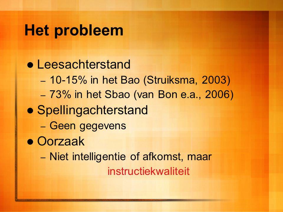 Het probleem Leesachterstand Spellingachterstand Oorzaak