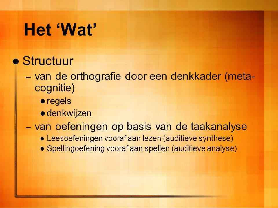 Het 'Wat' Structuur. van de orthografie door een denkkader (meta-cognitie) regels. denkwijzen. van oefeningen op basis van de taakanalyse.
