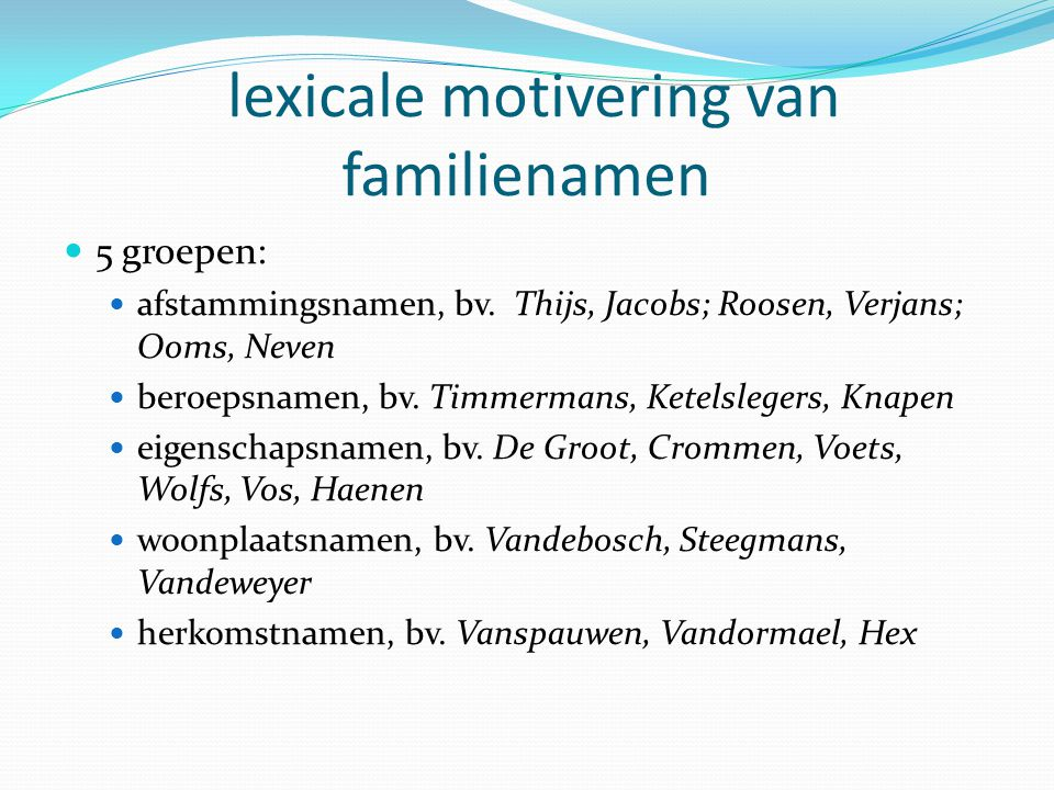 lexicale motivering van familienamen