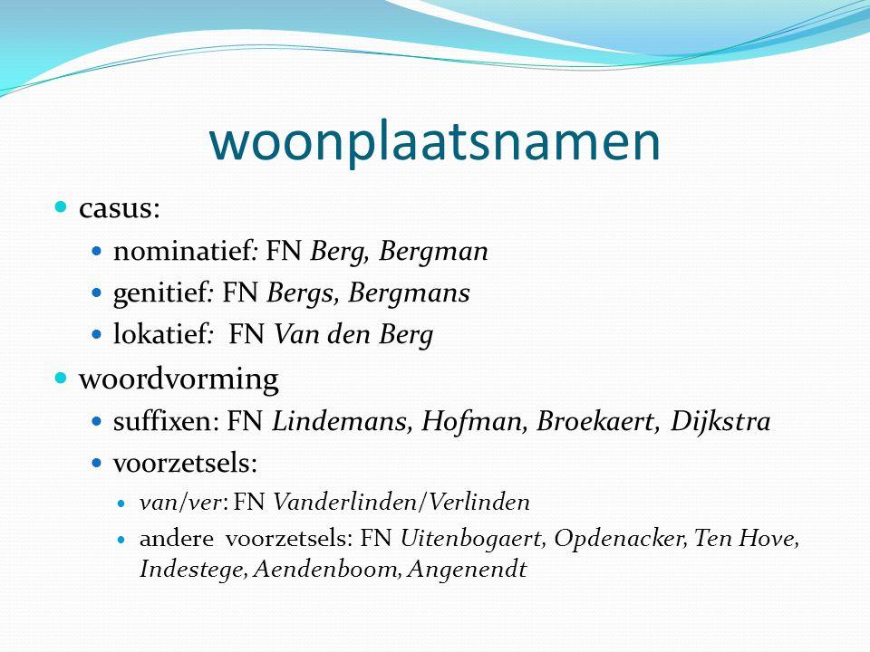 woonplaatsnamen casus: woordvorming nominatief: FN Berg, Bergman
