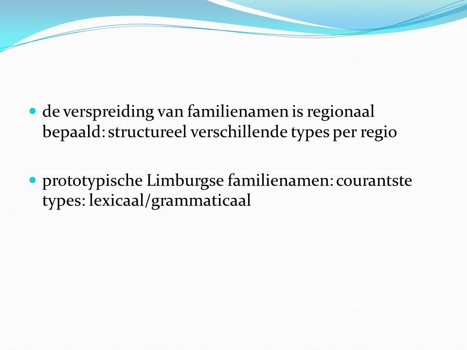 de verspreiding van familienamen is regionaal bepaald: structureel verschillende types per regio