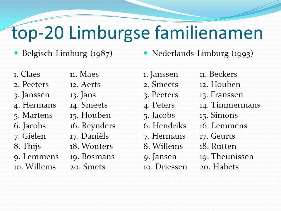 top-20 Limburgse familienamen