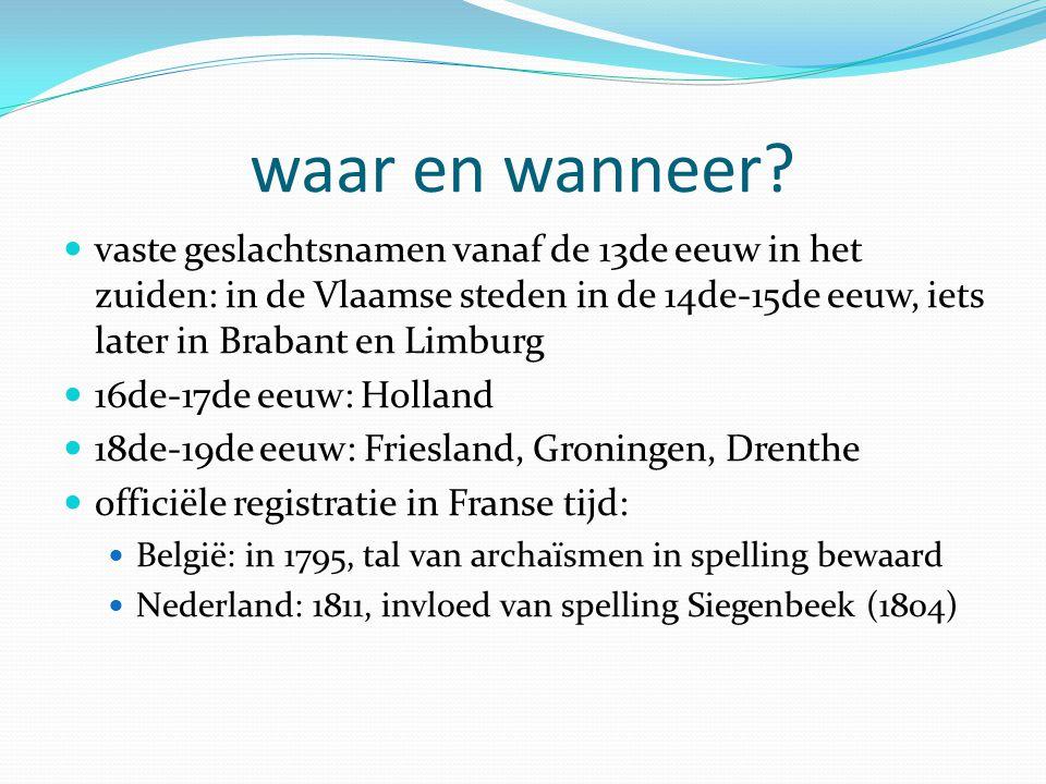 waar en wanneer vaste geslachtsnamen vanaf de 13de eeuw in het zuiden: in de Vlaamse steden in de 14de-15de eeuw, iets later in Brabant en Limburg.