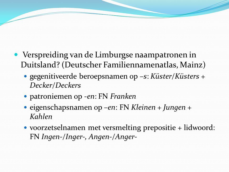 Verspreiding van de Limburgse naampatronen in Duitsland