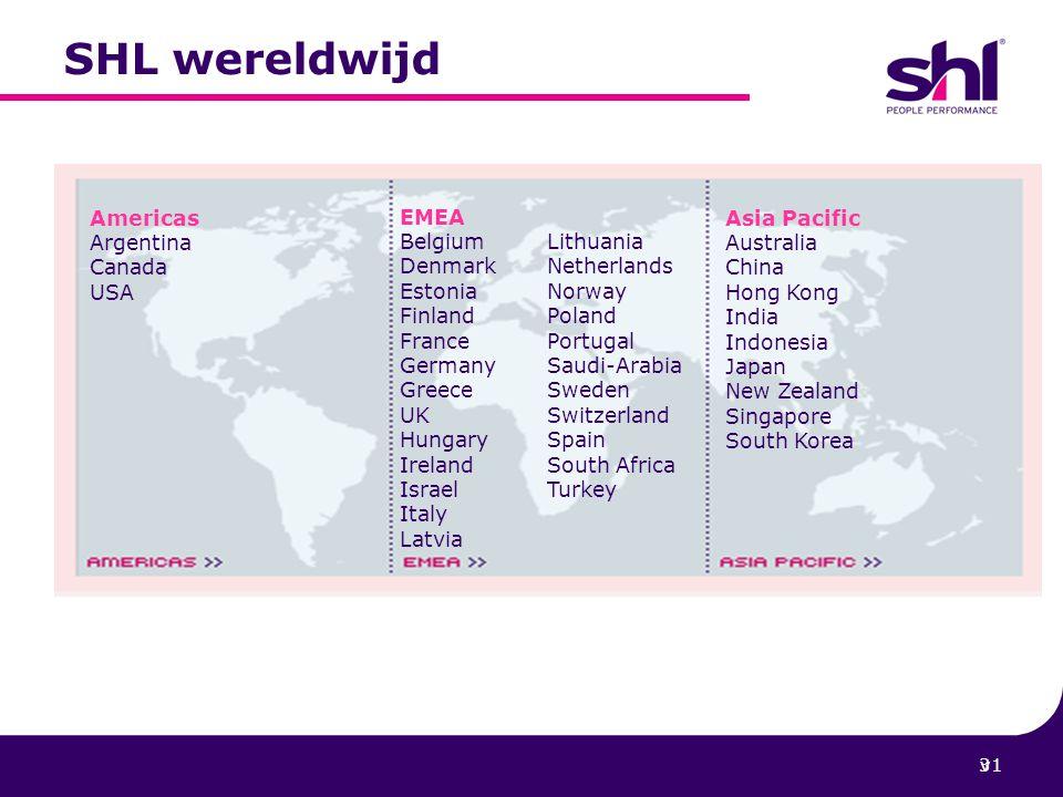 SHL wereldwijd Americas Argentina Canada USA EMEA Belgium Lithuania
