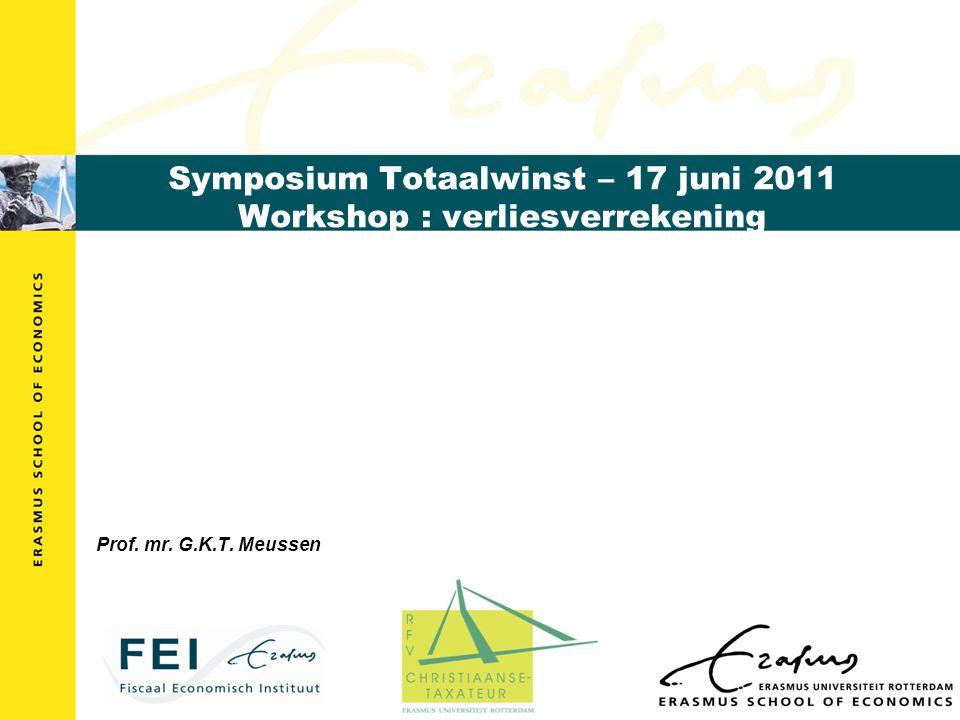 Symposium Totaalwinst – 17 juni 2011 Workshop : verliesverrekening