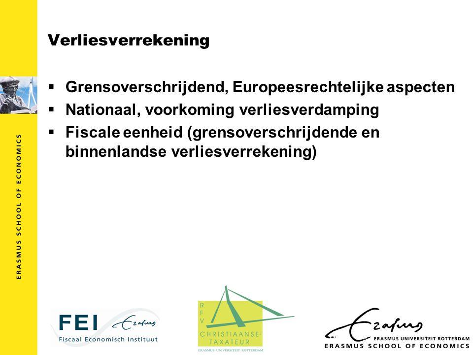 Verliesverrekening Grensoverschrijdend, Europeesrechtelijke aspecten. Nationaal, voorkoming verliesverdamping.