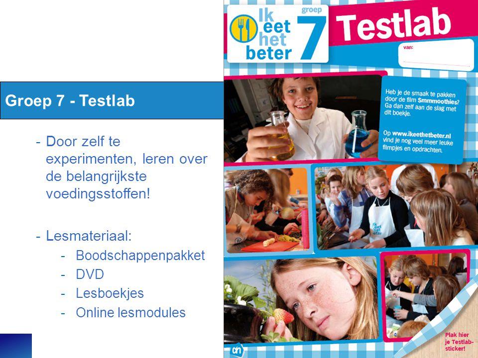 Groep 7 - Testlab Door zelf te experimenten, leren over de belangrijkste voedingsstoffen! Lesmateriaal: