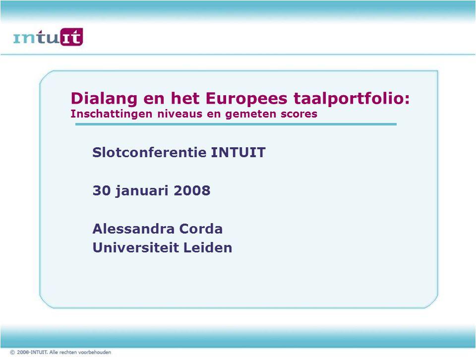 Dialang en het Europees taalportfolio: Inschattingen niveaus en gemeten scores