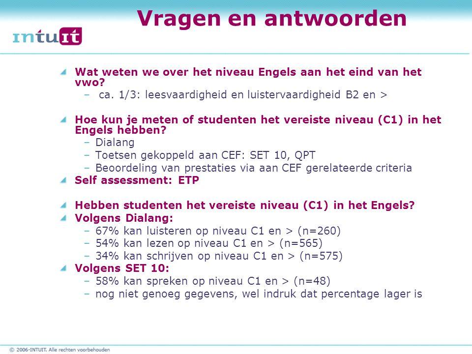 Vragen en antwoorden Wat weten we over het niveau Engels aan het eind van het vwo ca. 1/3: leesvaardigheid en luistervaardigheid B2 en >