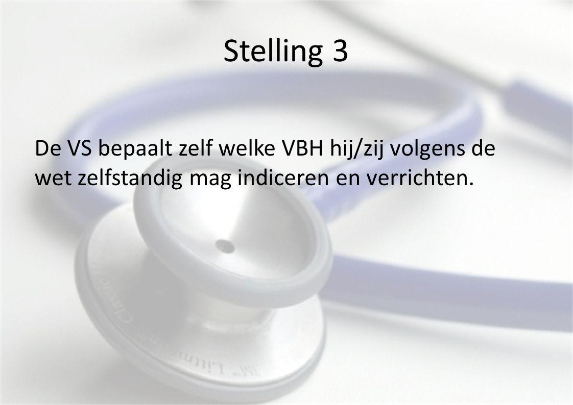 Stelling 3 De VS bepaalt zelf welke VBH hij/zij volgens de wet zelfstandig mag indiceren en verrichten.