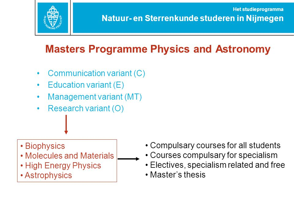 Masters Programme Physics and Astronomy