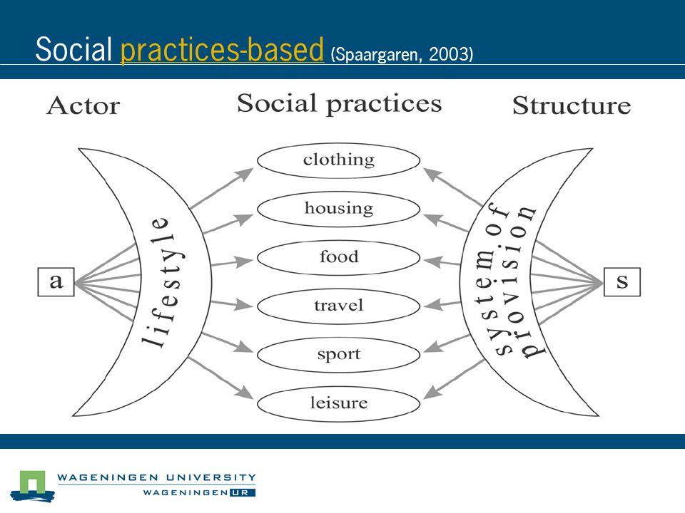 Social practices-based (Spaargaren, 2003)