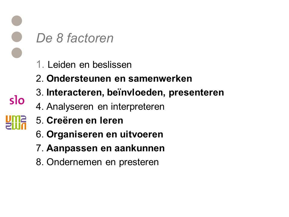 De 8 factoren 1. Leiden en beslissen 2. Ondersteunen en samenwerken