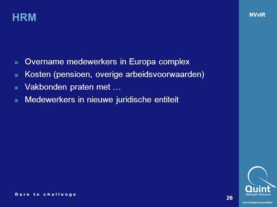HRM Overname medewerkers in Europa complex