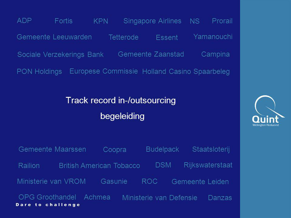 Track record in-/outsourcing begeleiding