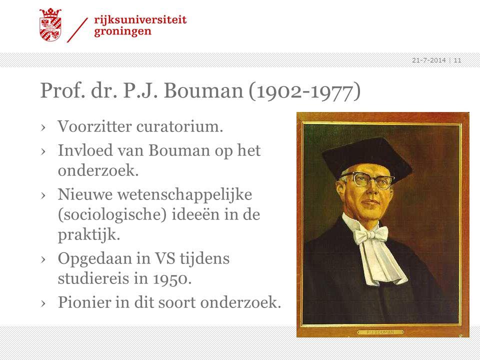 Prof. dr. P.J. Bouman (1902-1977) Voorzitter curatorium.