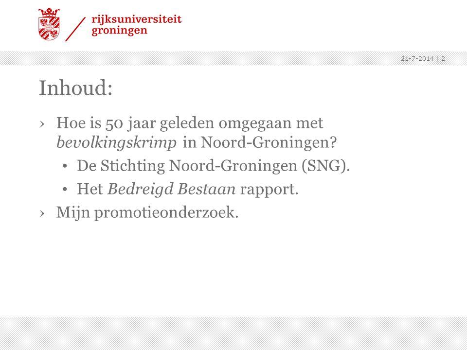 4-4-2017 Inhoud: Hoe is 50 jaar geleden omgegaan met bevolkingskrimp in Noord-Groningen De Stichting Noord-Groningen (SNG).